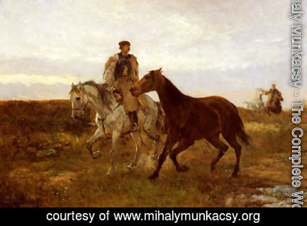 Mihaly Munkacsy - Leading the Horses Home at Sunset
