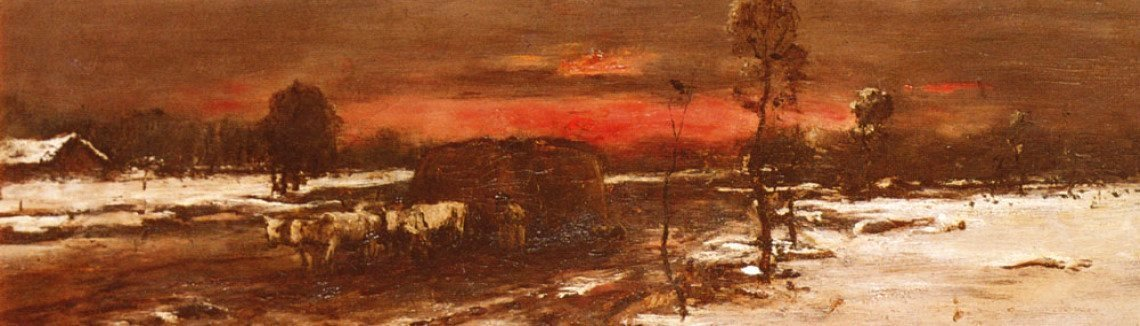 Mihaly Munkacsy - A Winter Landscape at Sunset