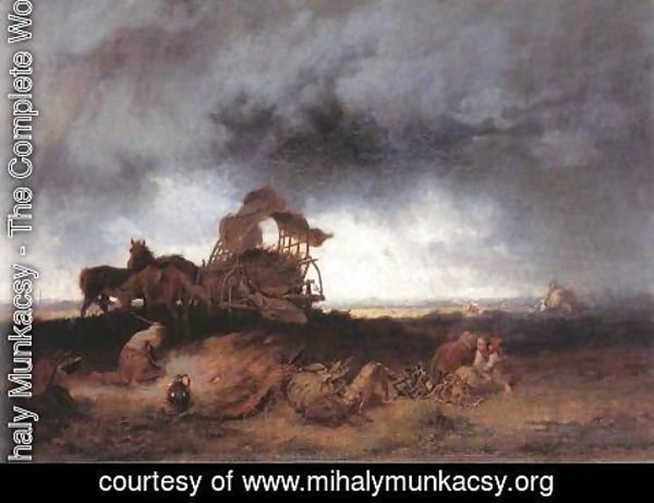 Mihaly Munkacsy - Storm at the Puszta 1867
