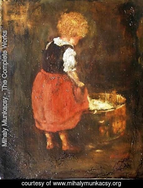 Mihaly Munkacsy - Shredding linen - Sketch of the little girl