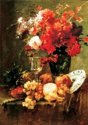 Mihaly Munkacsy - Still-life with Flowers and Fruits