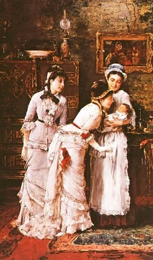 Mihaly Munkacsy - Baby's Visitors (Babalatogatoban- Reszlet)  (detail)  1879