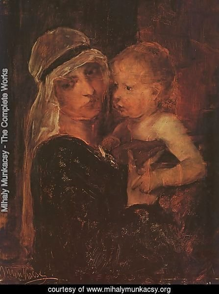 Mother and Child - Study for Christ before Pilate (Anya Gyermekkel- Tanulmany a Krisztus Pilatus elott cimu kephez)  1880