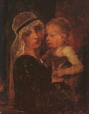 Mihaly Munkacsy - Mother and Child - Study for Christ before Pilate (Anya Gyermekkel- Tanulmany a Krisztus Pilatus elott cimu kephez)  1880