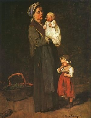 "Mihaly Munkacsy - Mother and Child - study for ""The Pawnbrokers Shop"" (Anya Gyermekkel- Tanulmany a zaloghaz címü kephez)  1873"