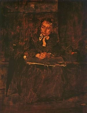"Mihaly Munkacsy - Seated Old Woman- Study for ""The Pawnbroker's Shop"" (Ulo oregasszony - Tanulmany a zaloghaz cimu kephez)  1873"